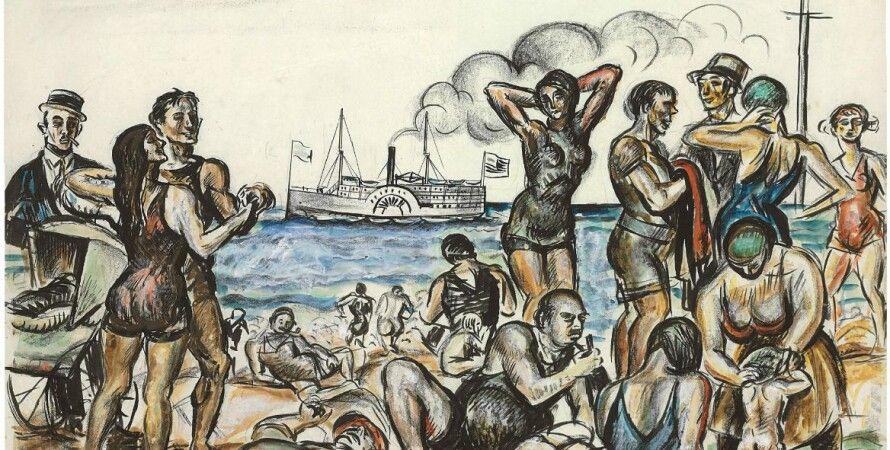 """Реджинальд Марш (1898 – 1954). Репродукция картины """"Фигуры на пляже"""""""