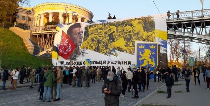 Майдан, сс галичина, плакат, баннер, дивизия сс галичина, марш, киев, националисты, нацизм