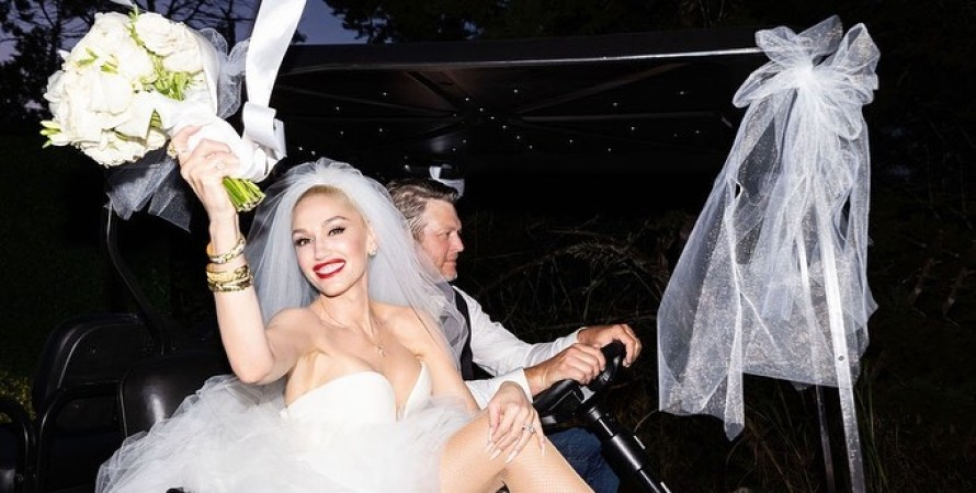 свадьба гвен стефани, гвен стефани, платье гвен стефани, блейк шелтон