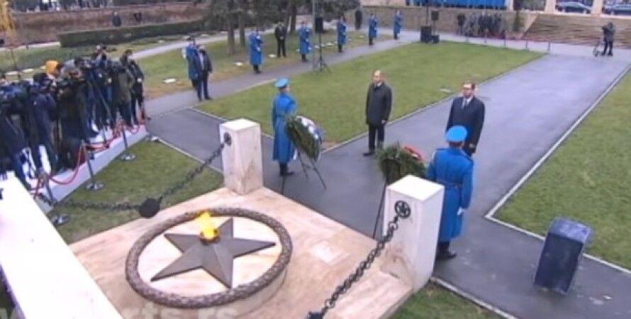 Александар Вучич, Сергей Лавров, Белград, Сербия, вечный огонь, кладбище