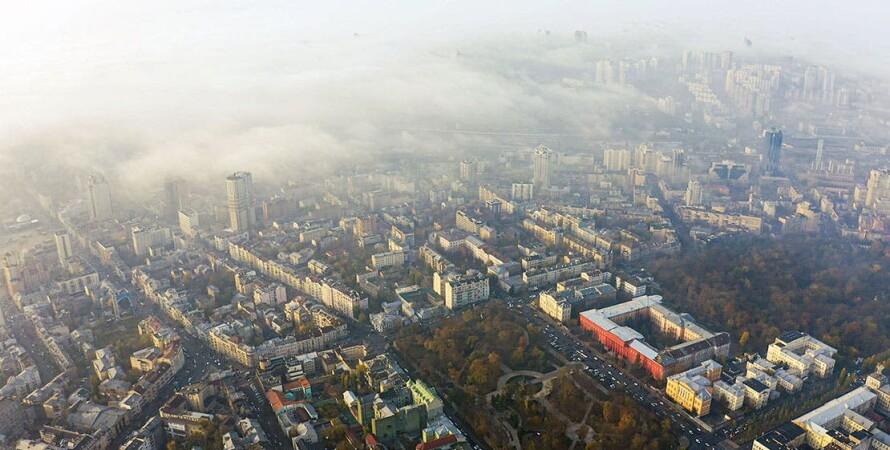 киев, воздух,  туман