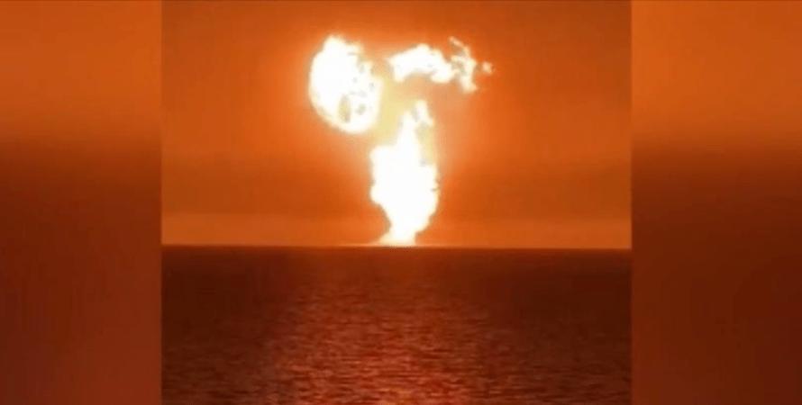 взрыв, каспийское море, фото