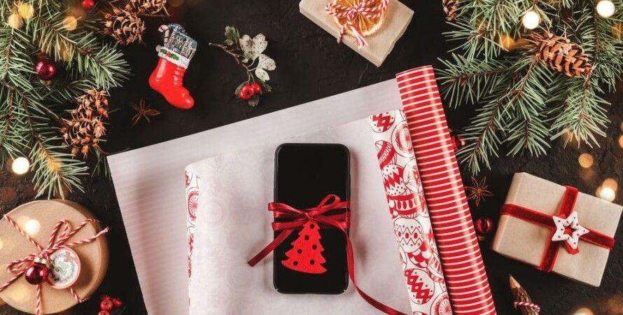 новый год, подарок, смартфон