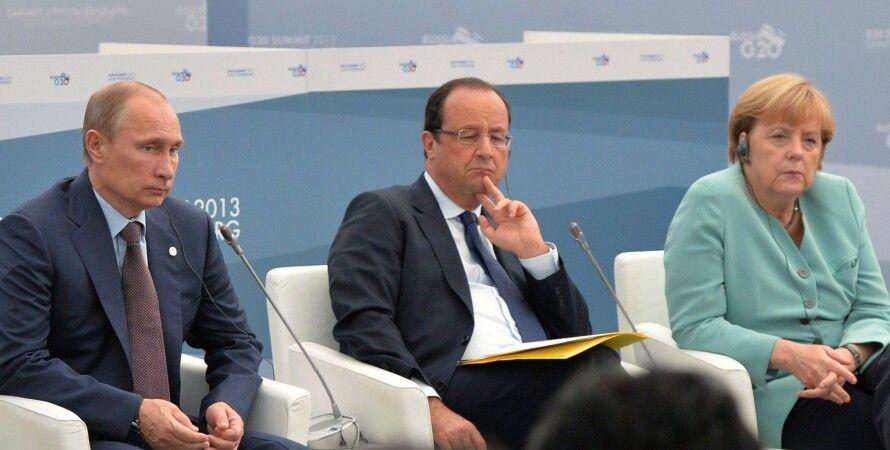Владимир Путин, Франсуа Олланд, Ангела Меркель / Фото: abnews.ru