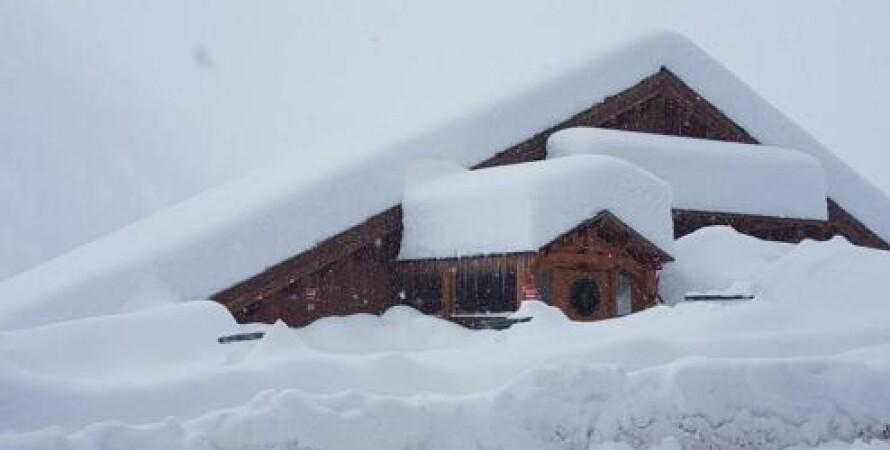 дом, снег, снегопад