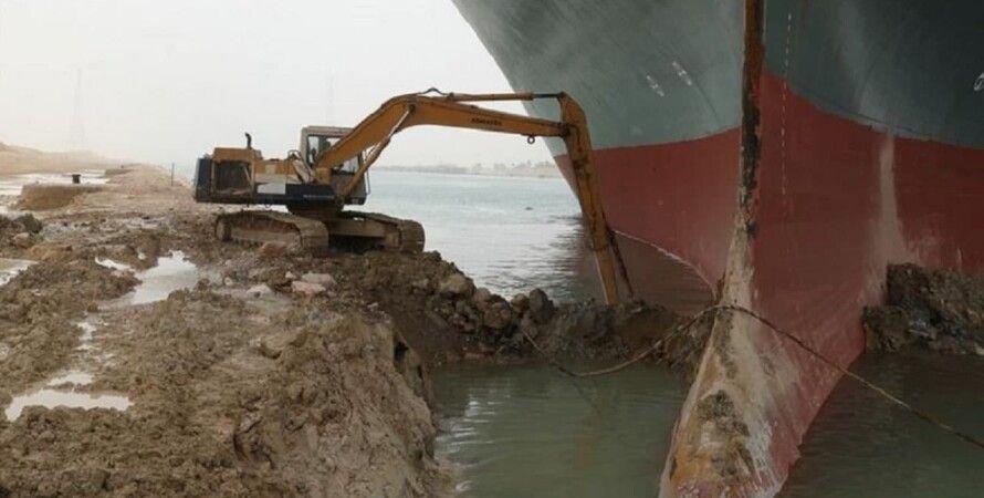 Суэцкий канал, Судно, Контейнеровоз, Спасательные работы, Мель
