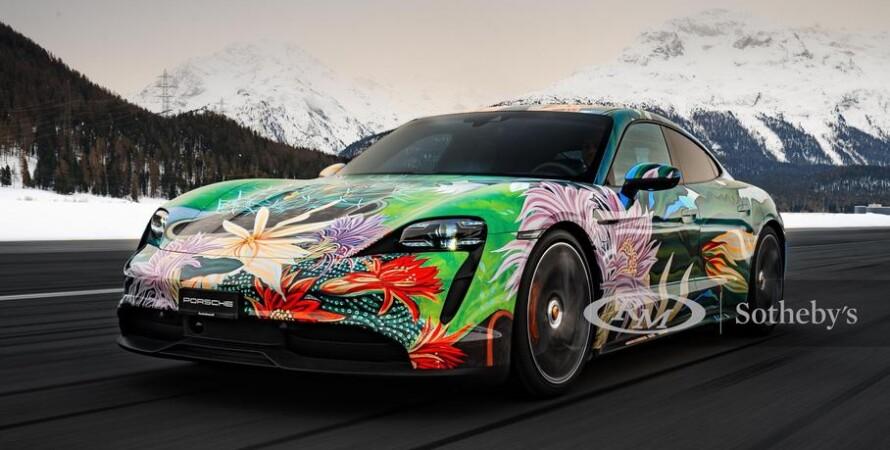 Porsche Taycan Art Car, продаж, аукціон, автомобілі, електрокар, ліврея, ричард Філліпс