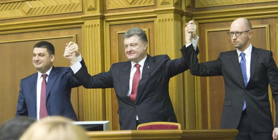 В. Гройсман, П. Порошенко и А. Яценюк/ Фото пресс-службы парламента