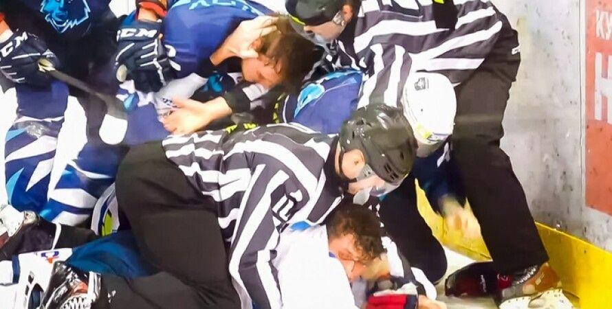 Киевская область,  драка, хоккей, массовая драка