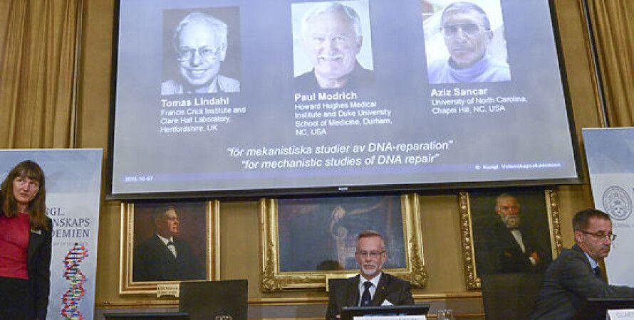 Нобелевские лауреаты по химии за 2015 год / Фото: AP