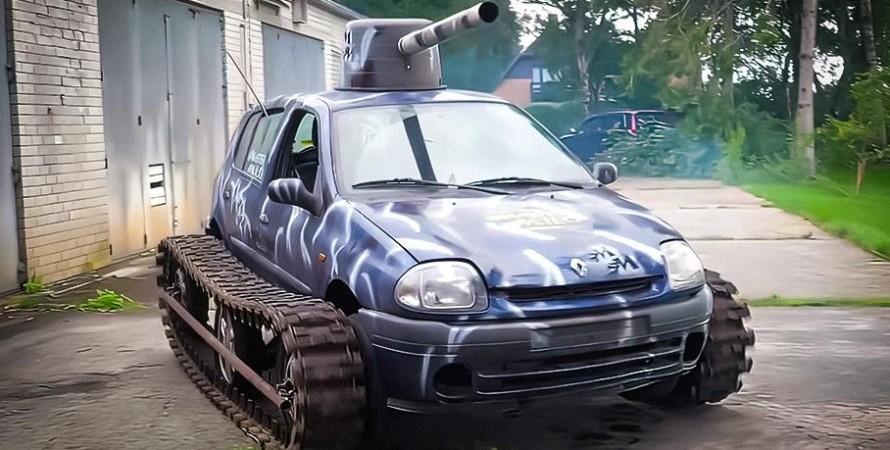 танк Renault Clio с башней и гусеницами создали в Нидерландах.