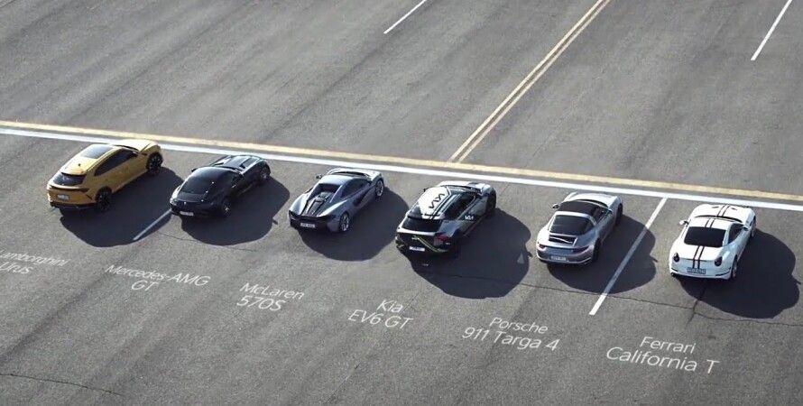 Kia EV6,, драг-рейсинг, Kia EV6 против суперкаров