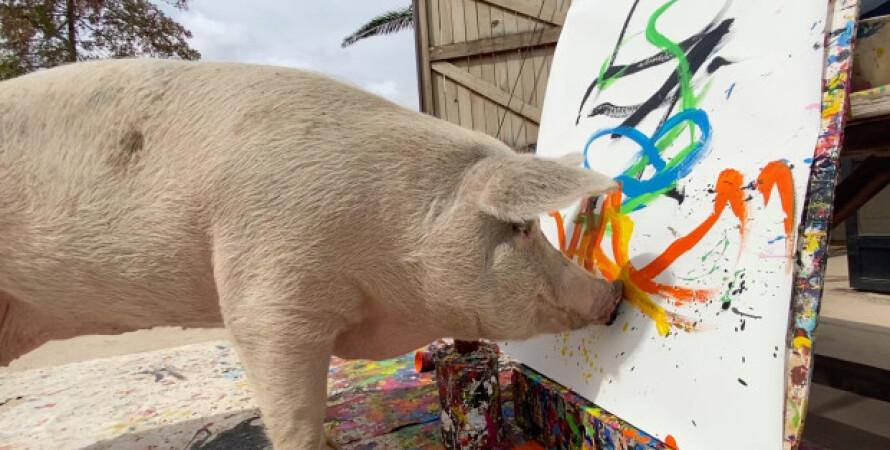 свиня малює, принц гаррі, картина, портрет, колекціонер, продаж картин, творчість
