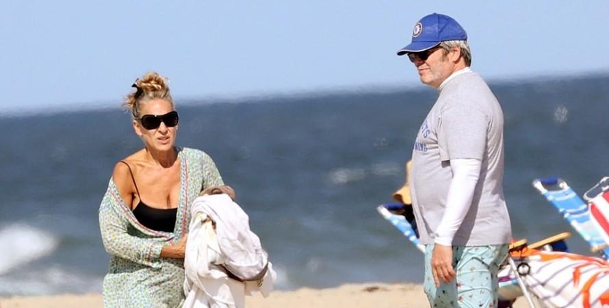 сара джессика паркер, мэтью бродерик, дочери, пляж, хэмптонс