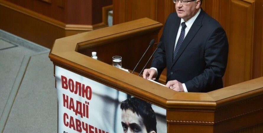Бронислав Коморовский в Верховной Раде / Фото пресс-службы президента Украины