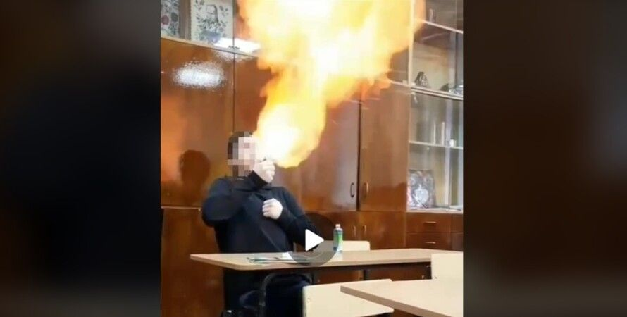 """Фаер-шоу"" в школе Харькова"