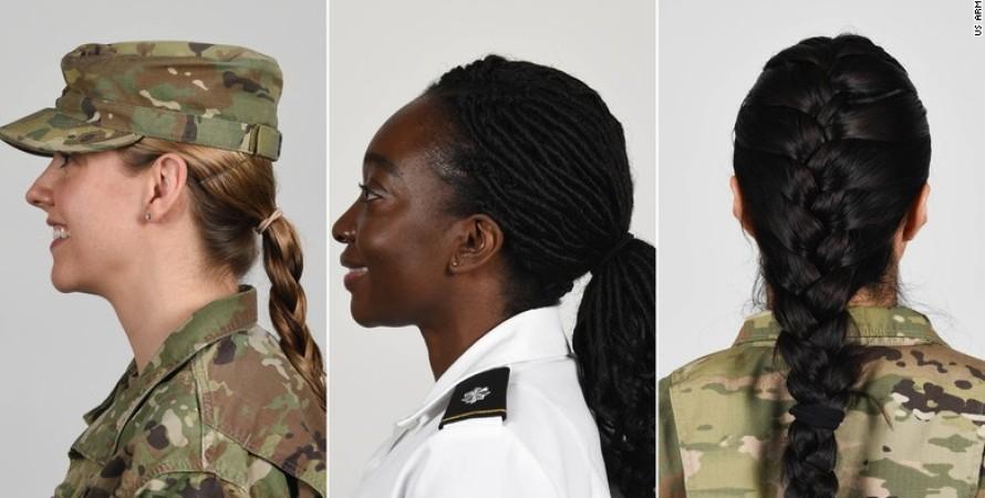Женщины-военнослужащие, США, Военная форма, Форма Одежды, Коса, Хвост