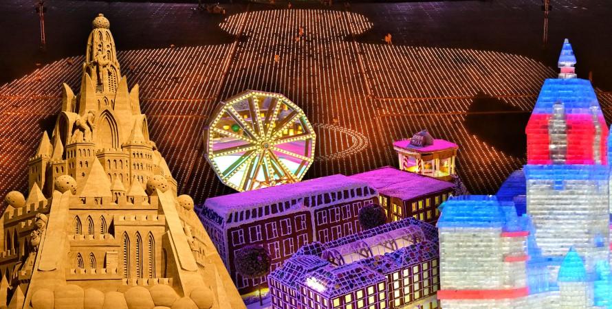 песочный дворец, пряничный городок, ледяной дворец, Будда из свечей