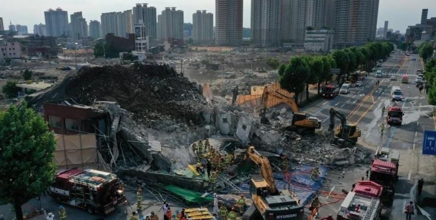 обрушение здания, южная корея, кванджу, автобус