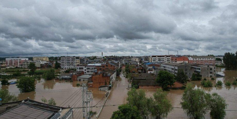 китай, наводнение, деревья, вода, дома