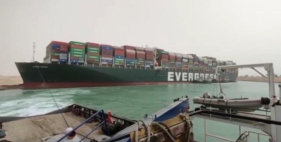 Суэцкий канал, корабль, контейнеровоз, мель, судоходство, блокирование,
