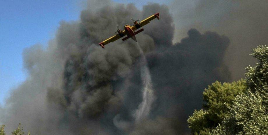 греция, пожары, пожары в греции, тушение лесных пожаров