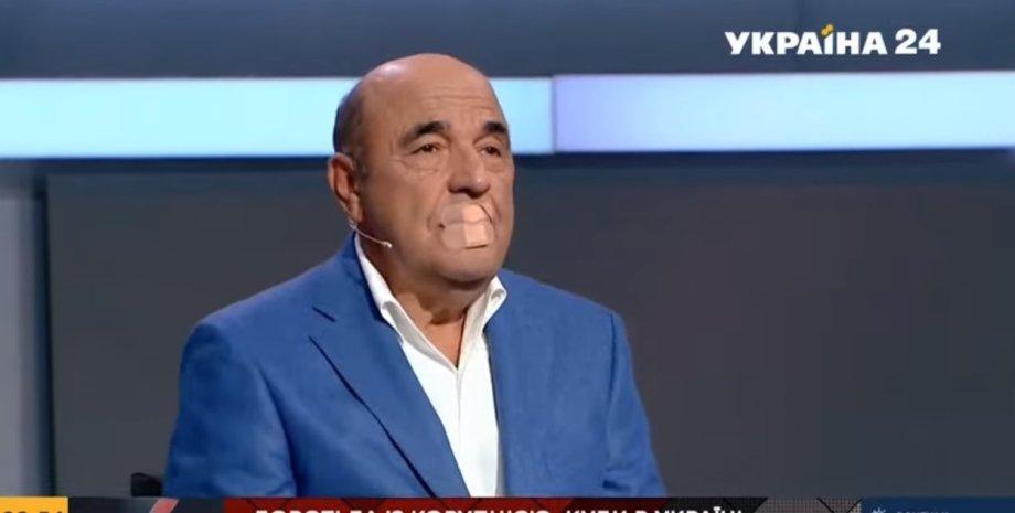 Рабинович заклеїв собі рот на підтримку заблокованих каналів Козака