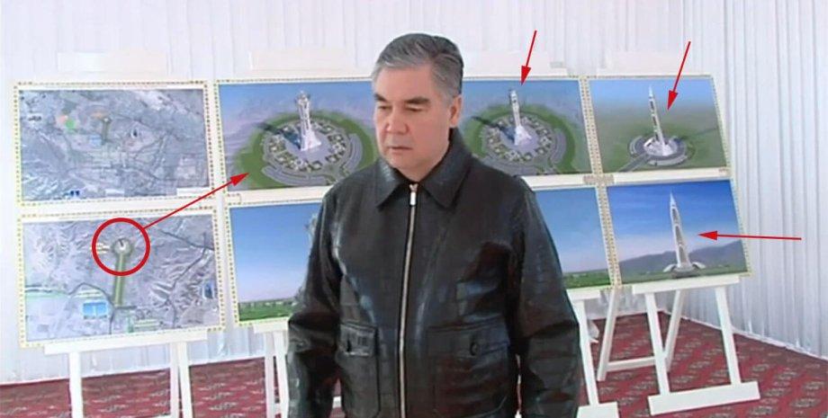 """Президенту Туркменистана показали эскизы будущего монумента. Фото: """"Хроника Туркменистана"""""""