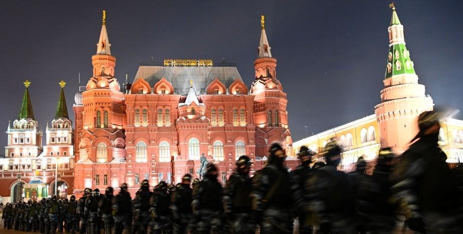 Москва, Кремль, Манежна площа, російські військові, ОМОН