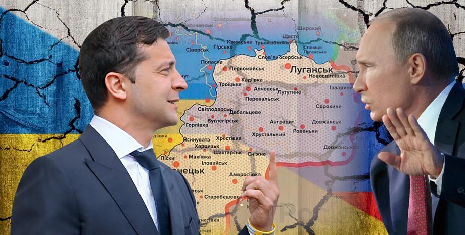 Владимир Путин и Владимир Зеленский у карты Украины