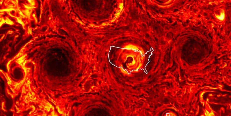Новый шторм на Юпитере. Фото: NASA
