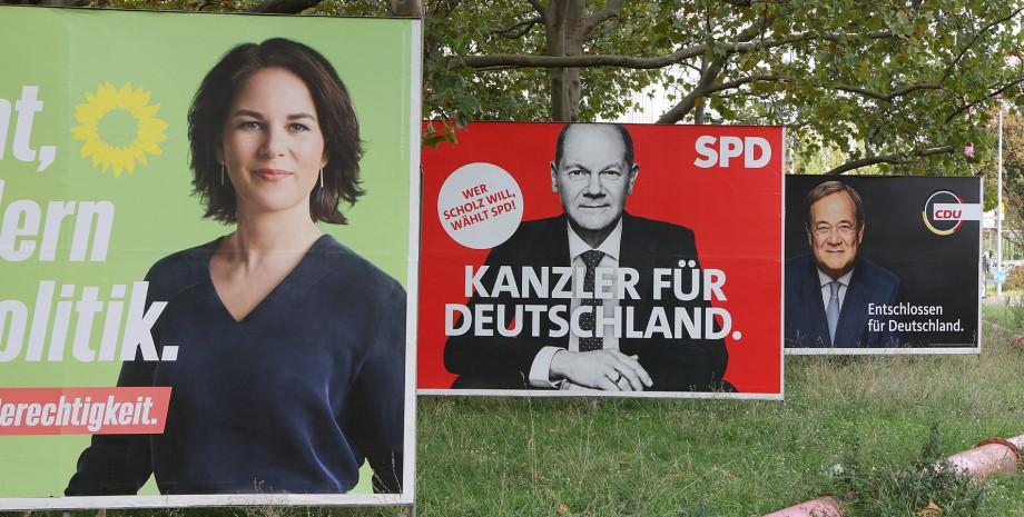 выборы в Германии, плакаты кандидатов, новый канцлер Германии