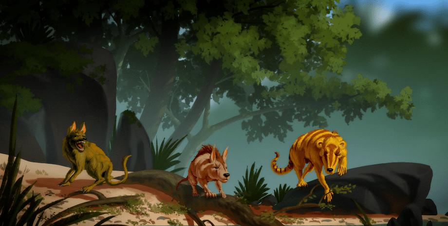 доисторические существа, рисунок, деревья