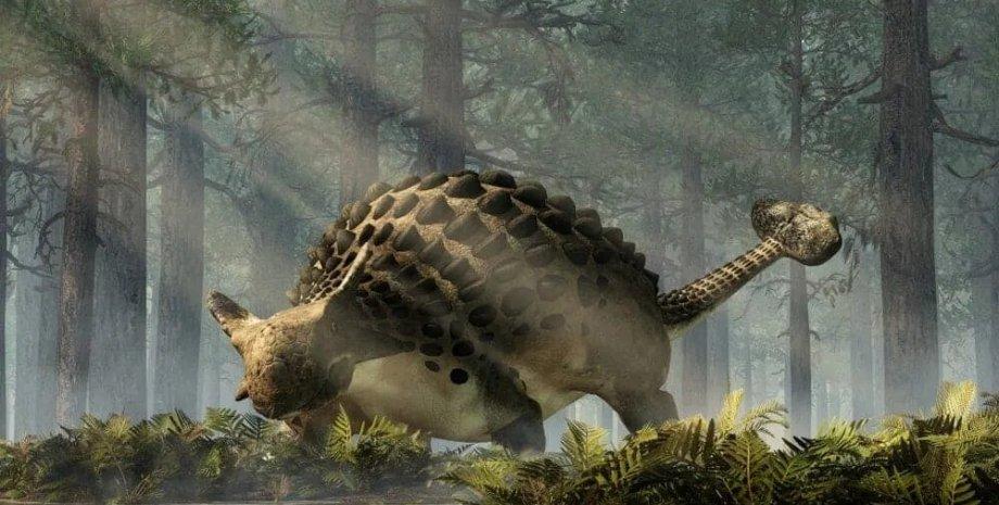 анкилозавр, рисунок, деревья