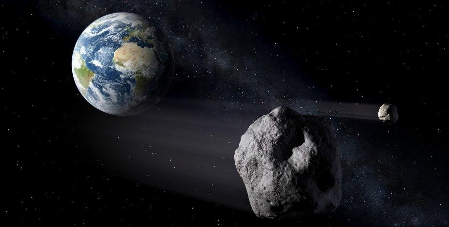 астероиды, космос, Земля, рисунок