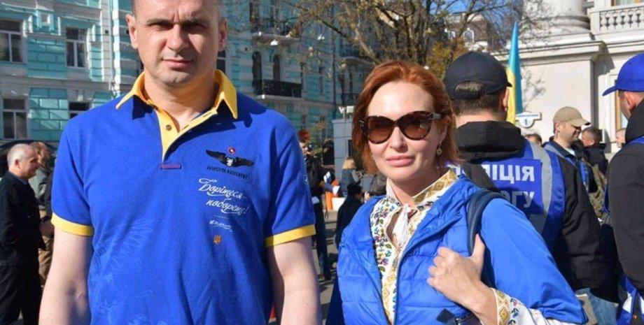 Юлия Кузьменко с Олегом Сенцовым. Фото: из соцсетей