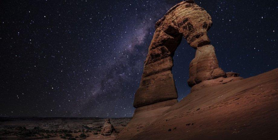 космос, звезды, скалы, Земля