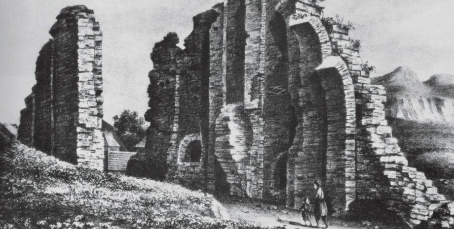 Так выглядели в середине 1830-х годов раскопанные Золотые ворота