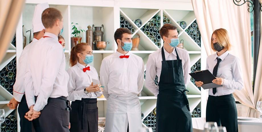 рестораторы, карантин, ресторанный бизнес, официанты в масках