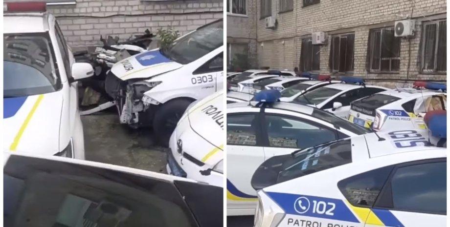 Нацполиция, патрульная полиция, полицейские автомобили, кладбище автомобилей