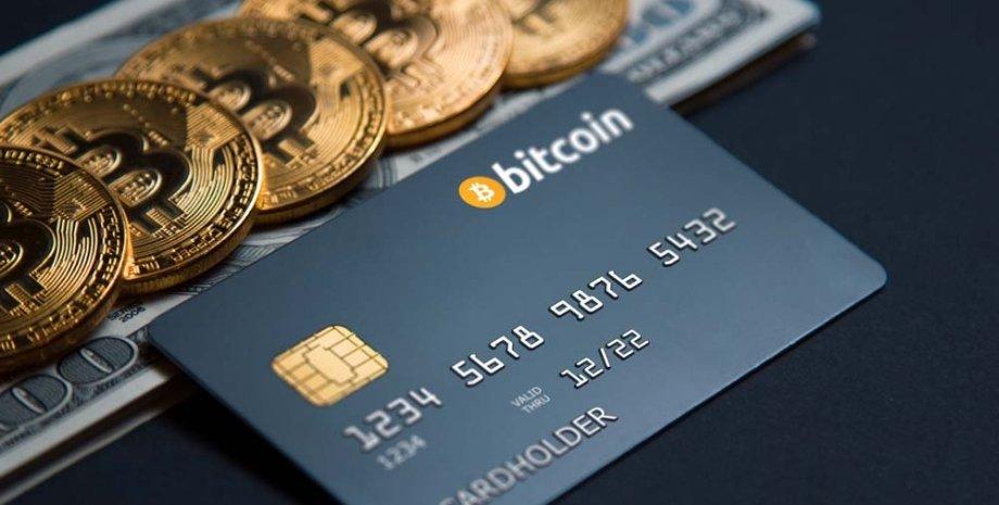 банківська карта, біткоіни, криптовалюта, монети