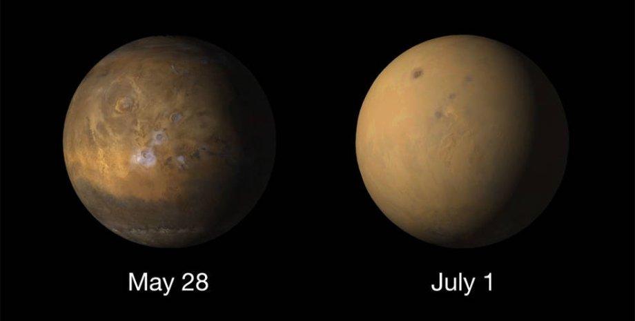 Пыльные бури на Марсе. Фото: NASA/MRO