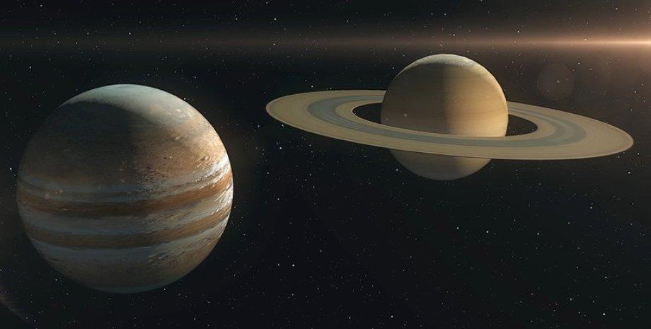 Сатурн, Юпітер, космос, ілюстрація