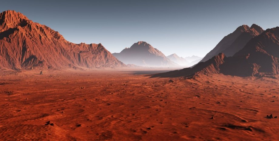 поверхность, Марс, иллюстрация, породы