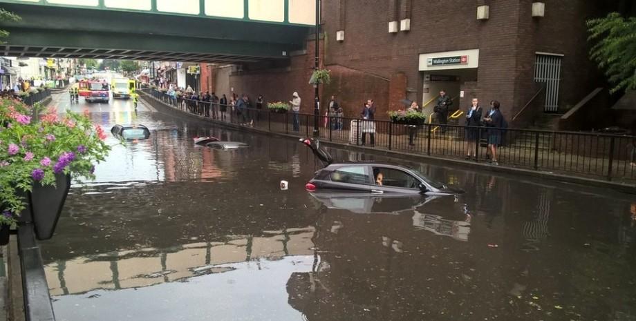 лондон, потоп, автомобілі, дощ, фото