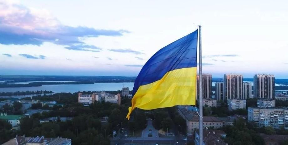 Флаг Украины над Донецкой областью