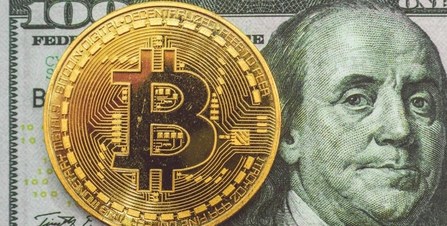 доллар, сто долларов, биткоин, монета
