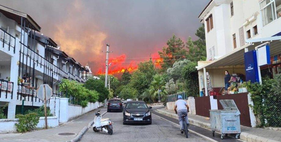 пожар в мармарисе, пожар в турции