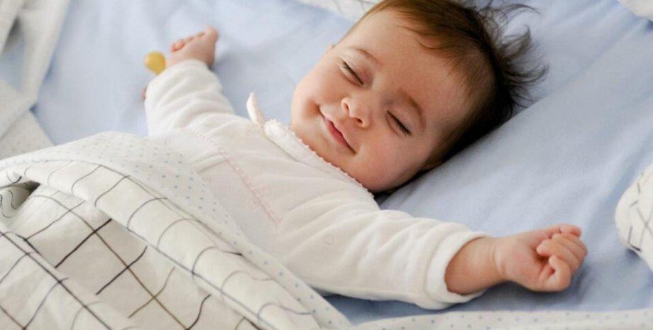 дитина, ліжко, постіль, фото