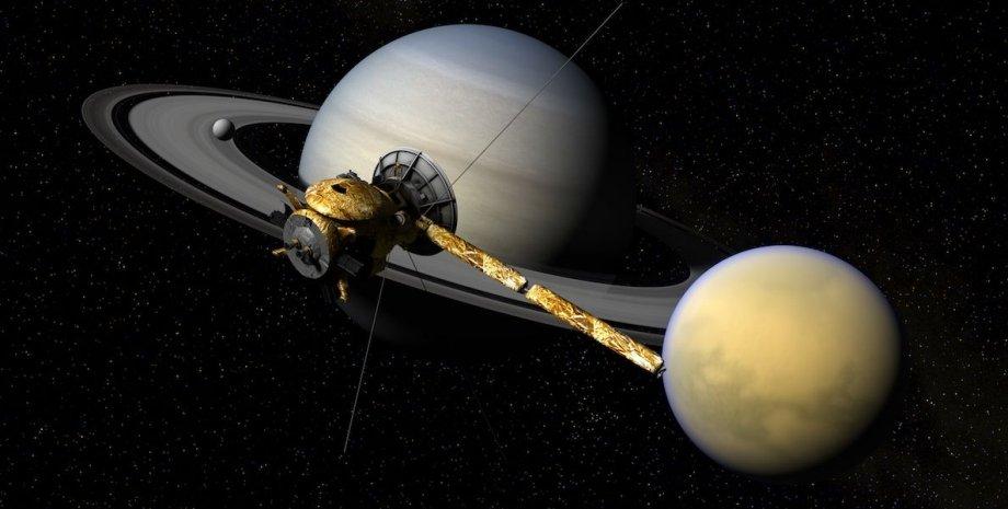 Сатурн, Титан и Кассини / Иллюстрация: inverse.com